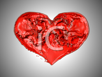 Royalty Free Clipart Image of a Liquid Heart