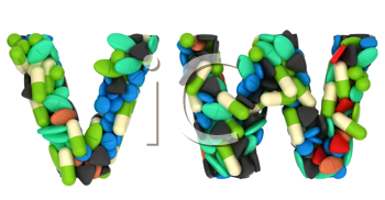 Royalty Free Clipart Image of Pharmaceutical Font V and W