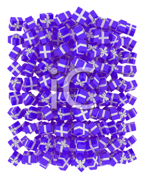 Royalty Free Clipart Image of a Pile of Purple Presents