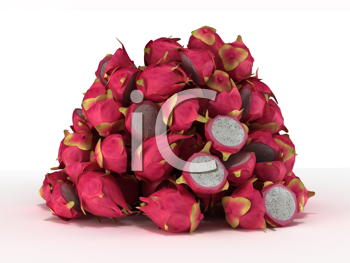 Royalty Free Clipart Image of a Pile of Dragon Fruit