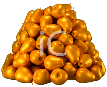 Royalty Free Clipart Image of a Pile of Golden Pears