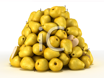 Royalty Free Clipart Image of a Pile of Pears