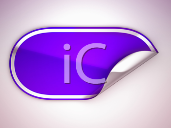 Royalty Free Clipart Image of a Bent Purple Sticker