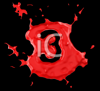 Royalty Free Clipart Image of a Red Number Three in Paint