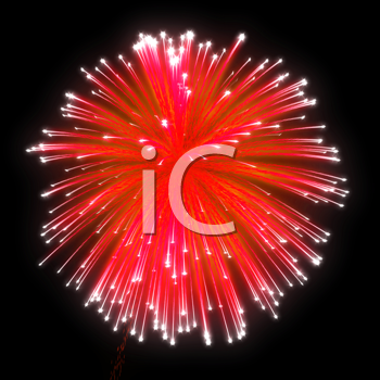 Royalty Free Clipart Image of Red Fireworks