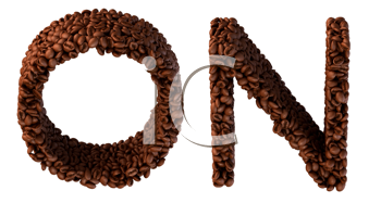 Royalty Free Clipart Image of Roasted Coffee Font O and N