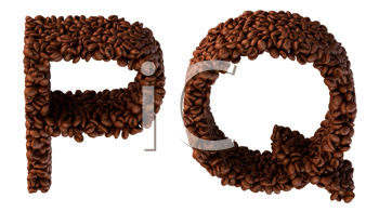Royalty Free Clipart Image of Roasted Coffee Font P and Q