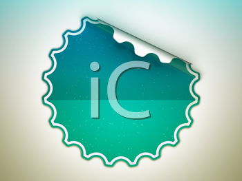 Royalty Free Clipart Image of a Sea-Green Sticker