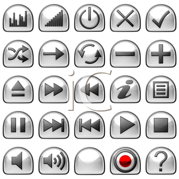 Royalty Free Clipart Image of Semicircular Control Panel Buttons