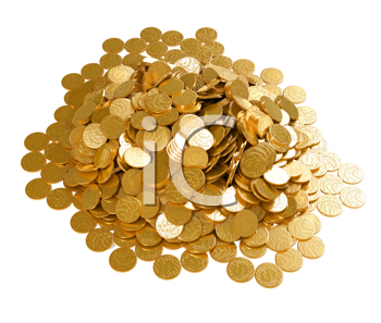 Royalty Free Clipart Image of a Pile of Coins