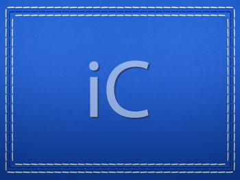 Royalty Free Clipart Image of a Blue Stitched Leather Background