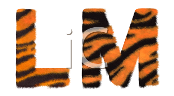 Royalty Free Clipart Image of Tiger Fell Font L and M