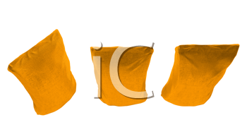 Royalty Free Clipart Image of Three Golden Packs for Coffee