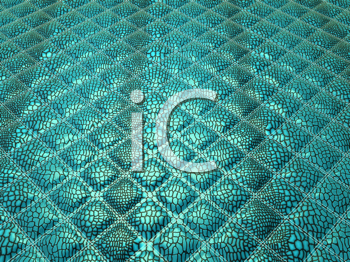 Royalty Free Clipart Image of a Turquoise Alligator Stitched Skin