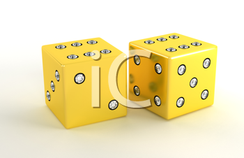 Royalty Free Clipart Image of Two Gold Die With Diamonds