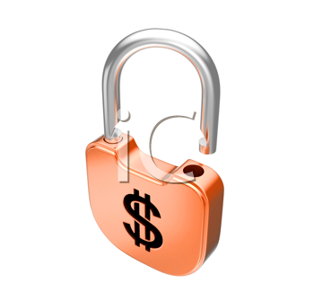 Royalty Free Clipart Image of an Unlocked Padlock