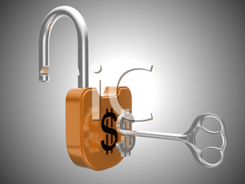 Royalty Free Clipart Image of a Key Unlocking a Padlock