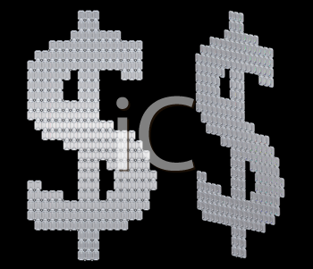 Royalty Free Clipart Image of Diamond USA Dollar Signs