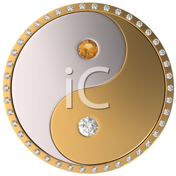Royalty Free Clipart Image of Diamond Yin and Yang