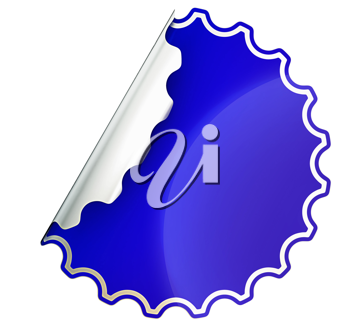 Blue round jagged sticker or label over white background