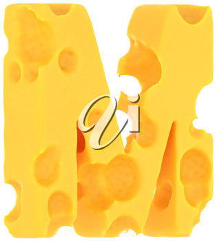 Cheeze font M letter isolated over white background