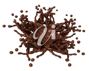 Chocolate Splash: Liquid shape with drops isolated over white