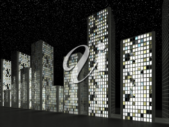City: Abstract skyscrapers and starry sky at night