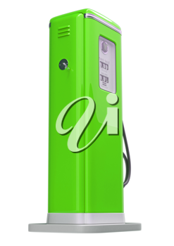 Green fuel pump isolated over white background