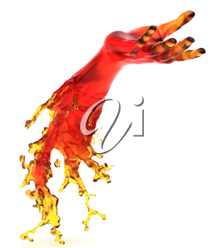 Lending somebody a helping hand: red liquid shape over white background