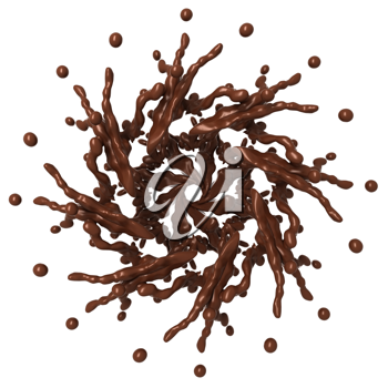 Sweet Splashes: Liquid chocolate star shape with drops isolated over white