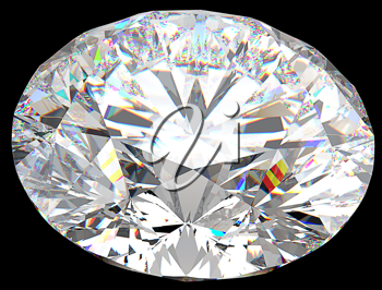 Top side view of large round diamond isolated over black