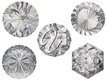 Top views of round and hexagonal diamond cuts over white background