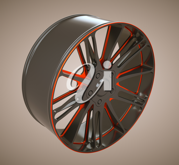 Auto alloy disc or wheel. Black and red. Large resolution