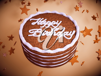 Happy birthday: cake with colorful background and stars. Large resolution