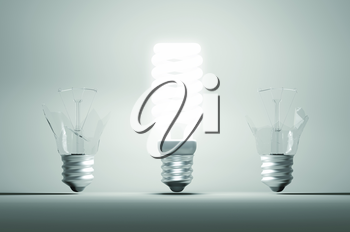 Idea and mistake or failure: illuminated bulb among two broken ones. Large resolution