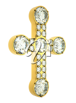 Religion and fashion: golden cross with diamonds isolated over white