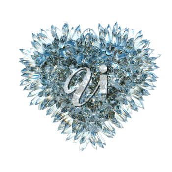 sharp love and jealousy: crystal heart shape isolated over white