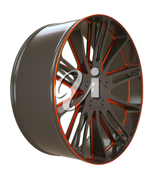 Vehicle Black and red disc or wheel isolated over white (custom rendered)