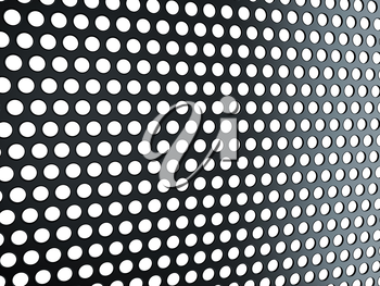 Black grill with holes isolated over white. Useful as background