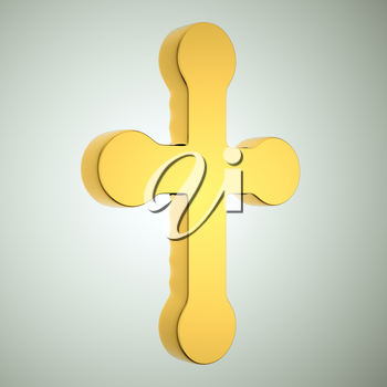 Jewelery and religion: golden cross. Custom made and rendered