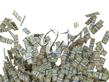 Making money concept: bunches of US dollars isolated on white