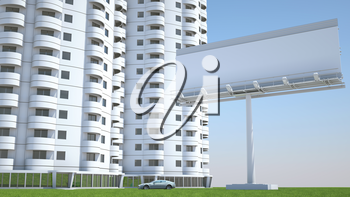 Realty and accommodation: Housing and advertisement hoarding with space for caption