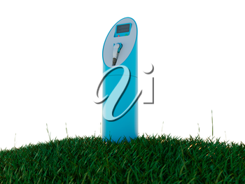 Charging station and meadow isolated on white. Ecology and environment