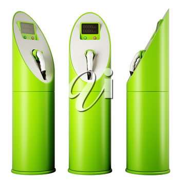 Eco fuel and energy: three charging stations for vehicles over white