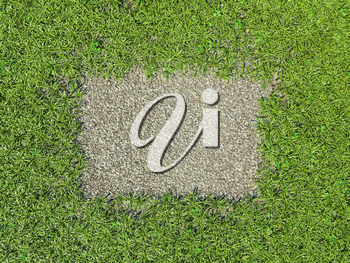 Environment: green grass frame and gravel patch in the middle