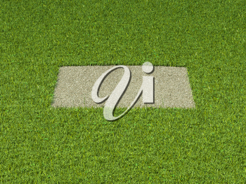 Gravel and grass: square patch and green frame. large resolution