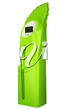 Green transportation: charging station isolated on white