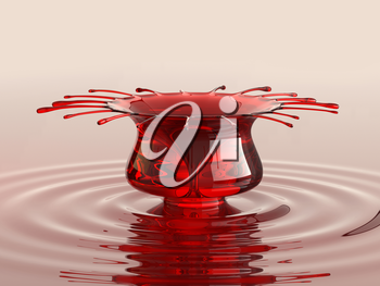Splash of cherry juice or wine with droplets and waves