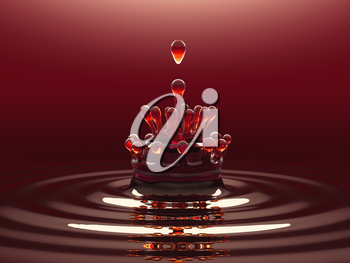 Splash of red colorful liquid or wine with droplets and water crown