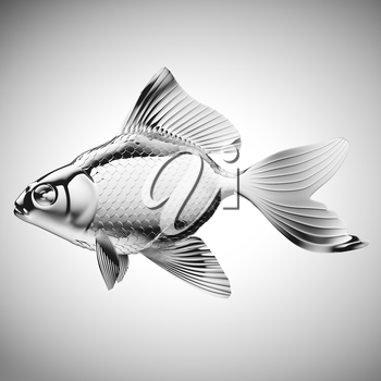 Royalty Free Clipart Image of a Silver Fish